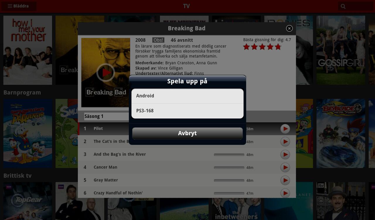 Netflix för Android och iOS som fjärrkontroll för din PS3